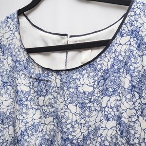 Loft Blue rose Floral Print Dress LOFT 12